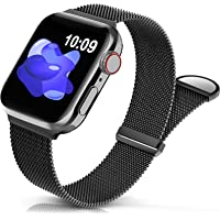Sunnywoo Metal Stainless Steel Band Compatible with Apple Watch Bands 38mm 40mm 41mm 42mm 44mm 45mm,Black Loop…