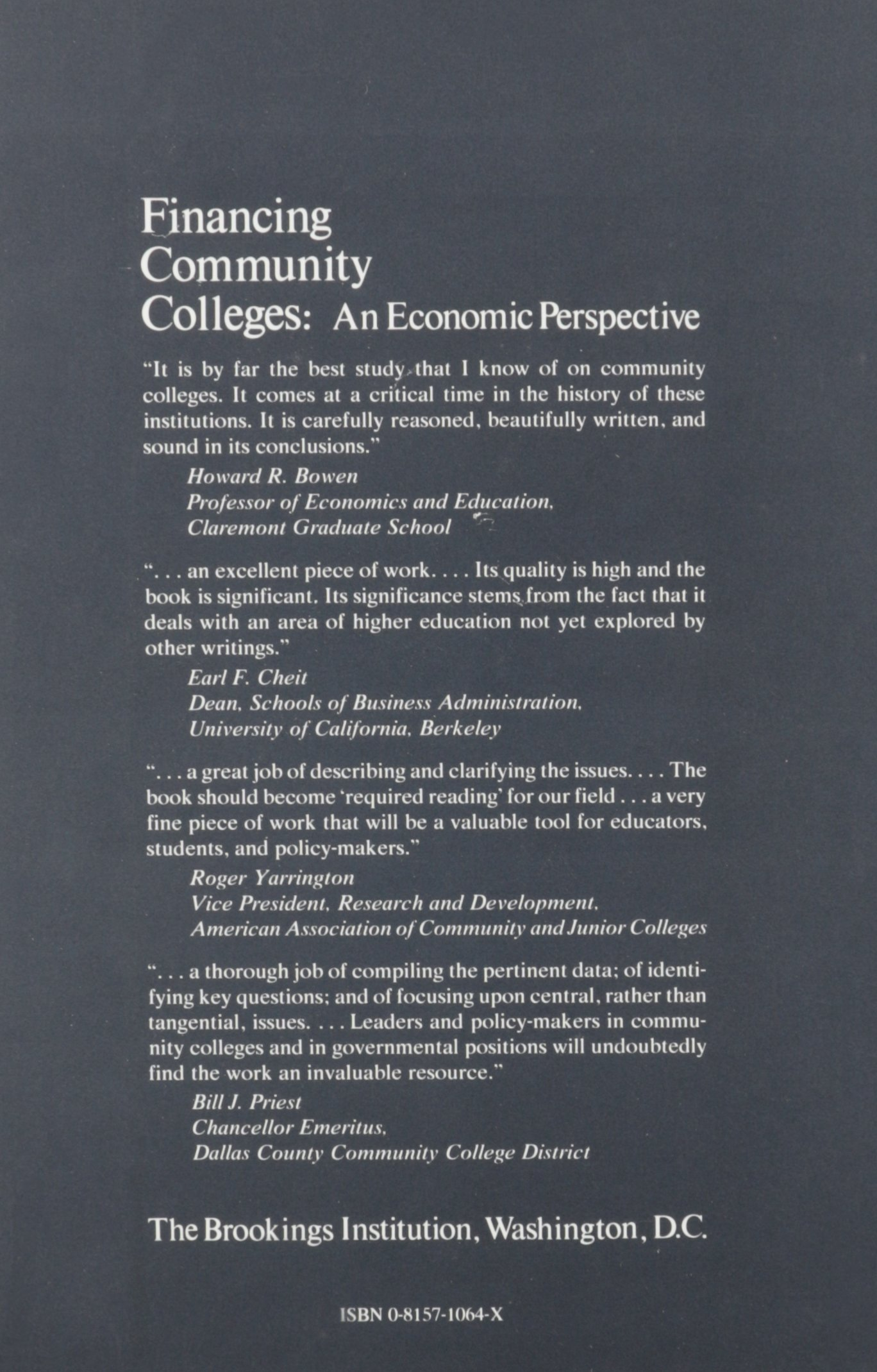 Financing Community Colleges An Economic Perspective Studies In Higher Education Policy David Breneman Susan C Nelson 9780815710646 Amazon