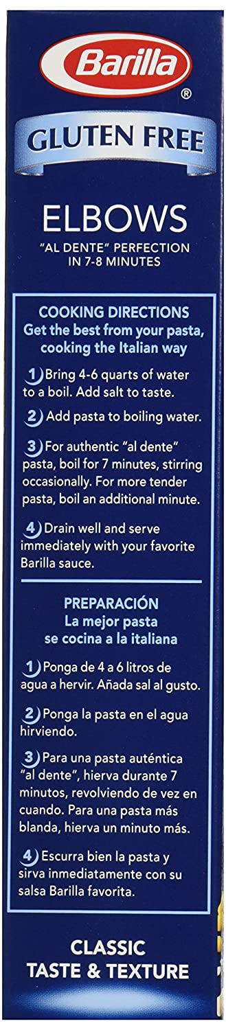 Amazon.com : Barilla Gluten Free Pasta, Elbow, 12 oz : Grocery & Gourmet Food