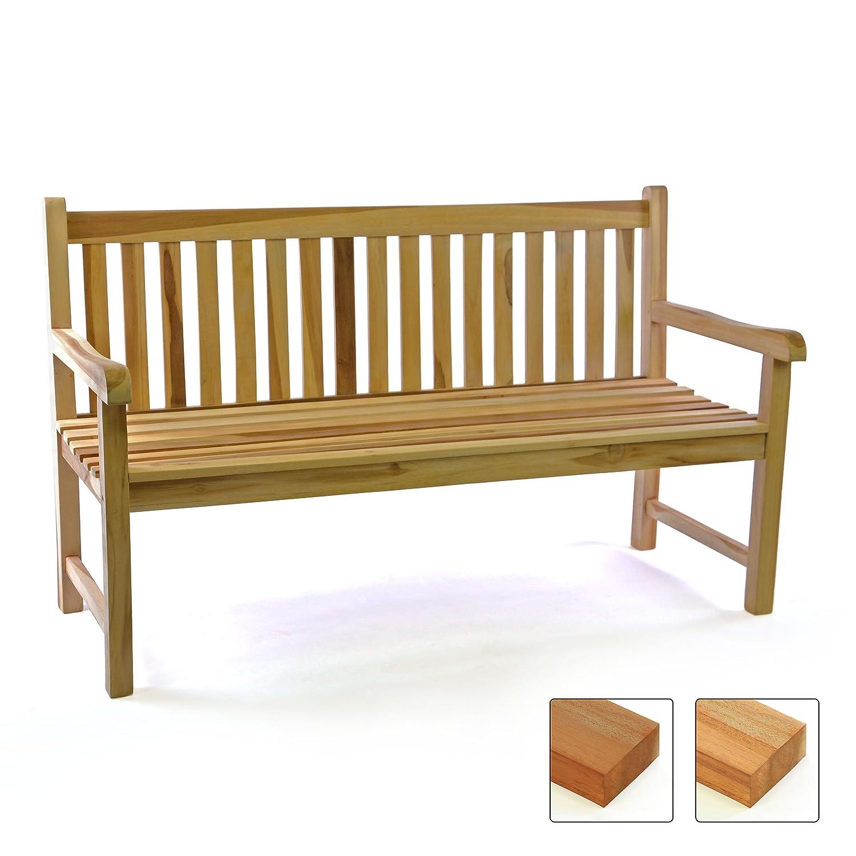 DIVERO 3-Sitzer Bank Gartenbank 150 cm aus hochwertigem massivem Teak-Holz reine Handarbeit Sitzbank für 3-Personen (Teak natur)