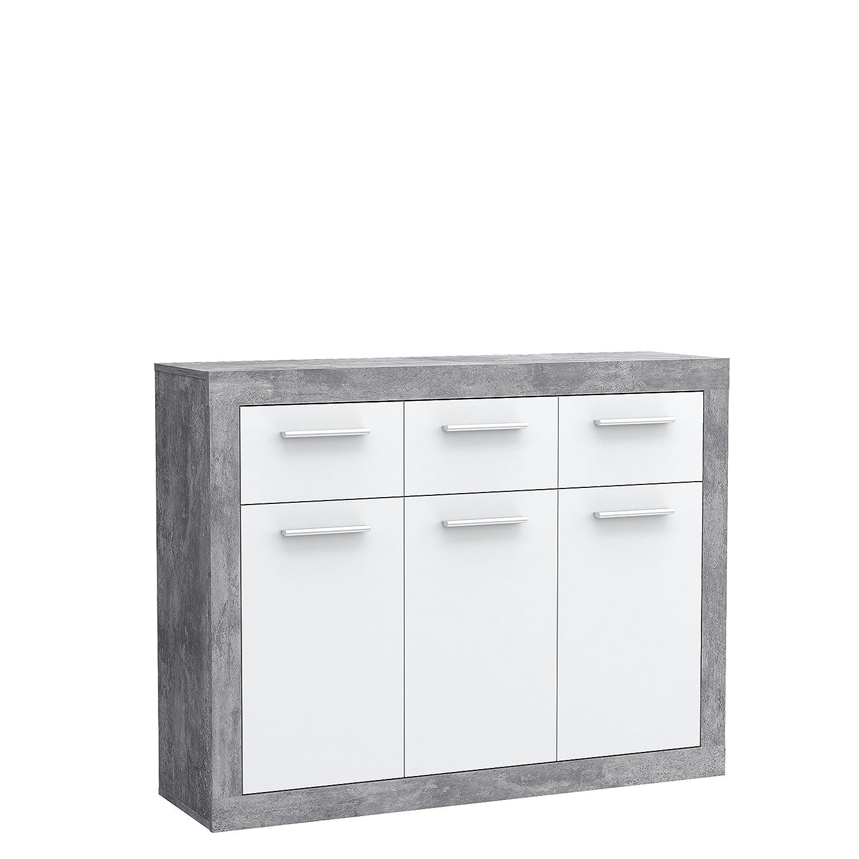 83.20 x 34 x 91.50 cm Holz Beton Optik//Wei/ß NEWFACE  Kommode