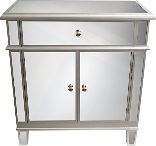 D cor Therapy Mirrored Chest, Silver Finish, 16 W x 32 D x 32 H