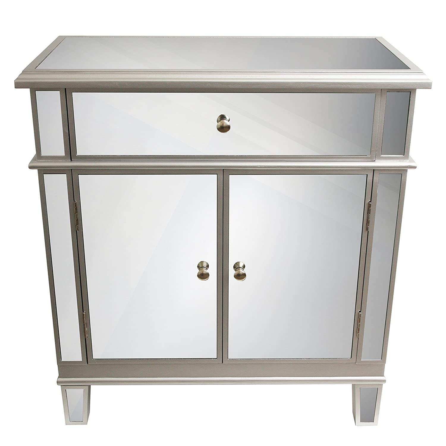 "Amazon.com: Décor Therapy FR1792 Mirrored Chest, Silver Finish, 16"" W x 32""  D x 32"" H: Kitchen & Dining"