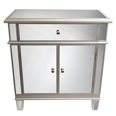 D cor Therapy FR1792 Mirrored Chest, Silver Finish, 16 W x 32 D x 32 H