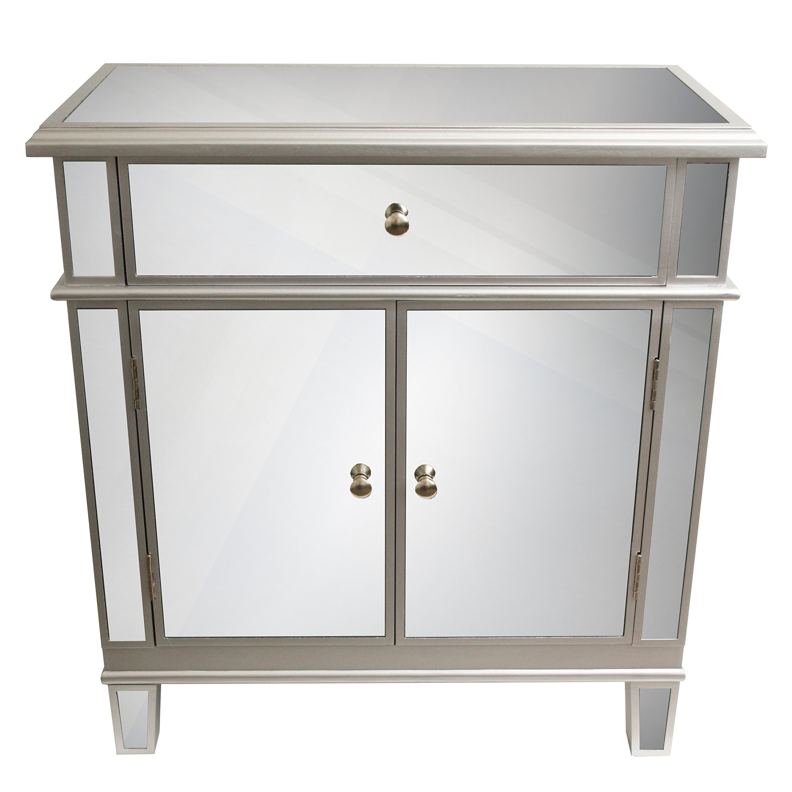 Décor Therapy FR1792 Mirrored Chest, Silver Finish, 16'' W x 32'' D x 32'' H