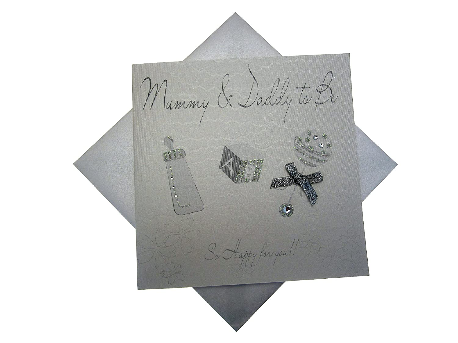 White Cotton Card Mummy and Daddy To Be Rattle (Silver) White Cotton Cards WB155