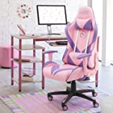 Homall Gaming Chair Girl Racing Office Chair High Back Computer Desk Chair Leather Executive Adjustable Swivel Chair…