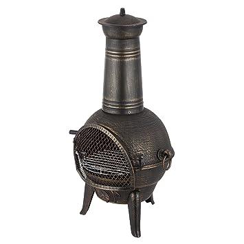 Mari Garden Granada - Chimenea de hierro fundido, 93 cm, brasero, calefactor para el jardín con parrilla ...