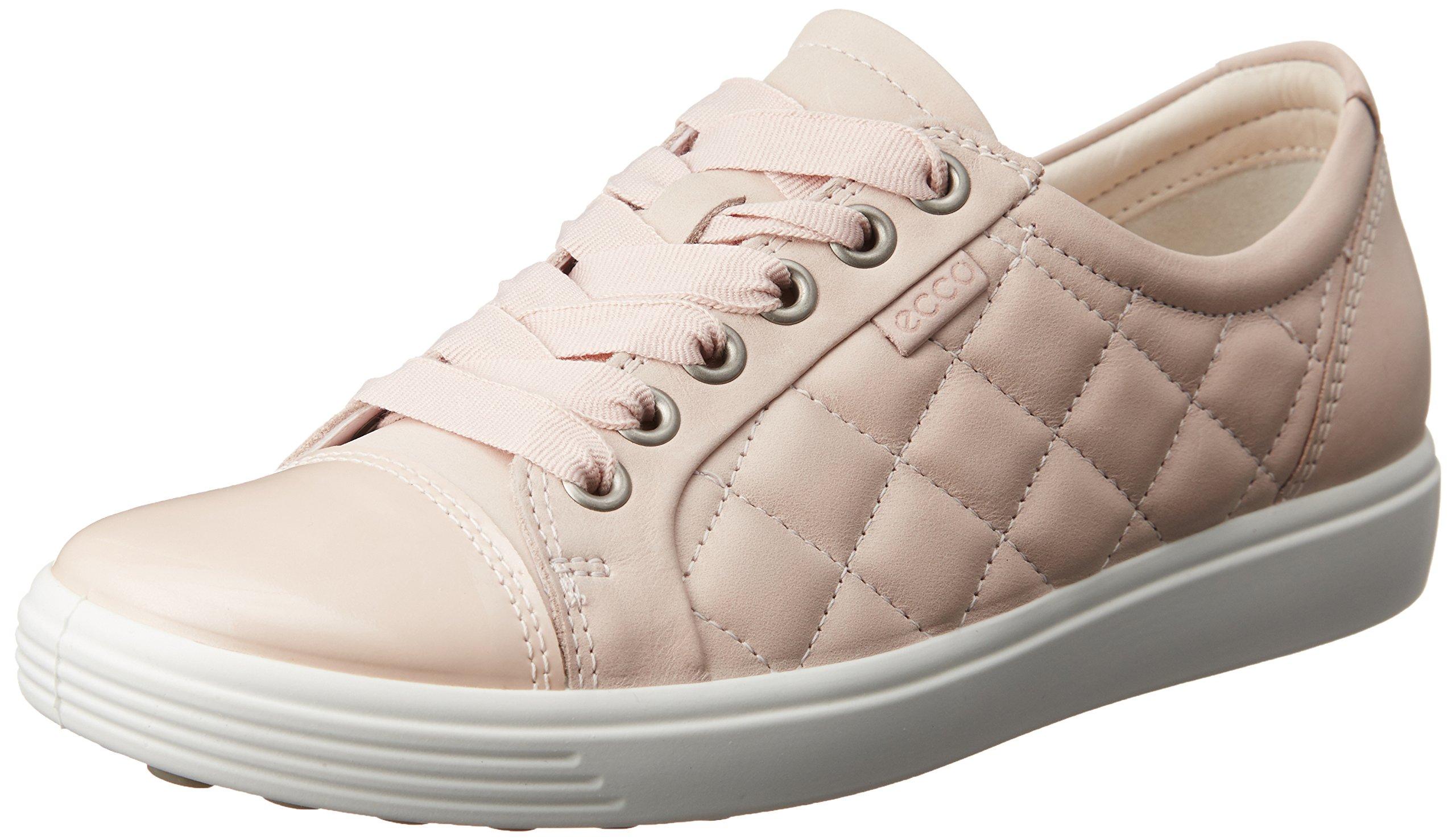 ECCO Women's Women's Soft 7 Quilted Tie Fashion Sneaker, Rose Dust/Rose Dust, 39 EU/8-8.5 M US