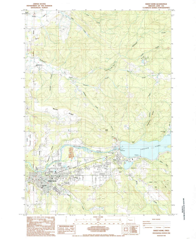 Amazon.com : YellowMaps Sweet Home OR topo map, 1:24000 Scale, 7.5 X ...