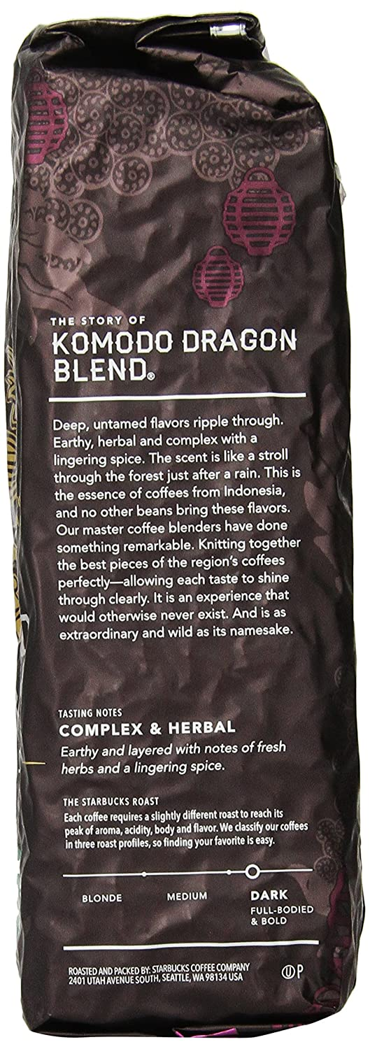 amazon com starbucks komodo dragon blend u0026reg whole bean coffee