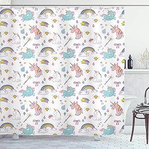 "Ambesonne Unicorn Shower Curtain, Magic Unicorn Forms with Colorful Cartoon Fantasy Cloud and Rainbow Pattern Print, Cloth Fabric Bathroom Decor Set with Hooks, 75"" Long, Seafoam"