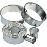KitchenCraft Round Metal Biscuit / Pastry Cutters with Storage Tin (Set of 11)