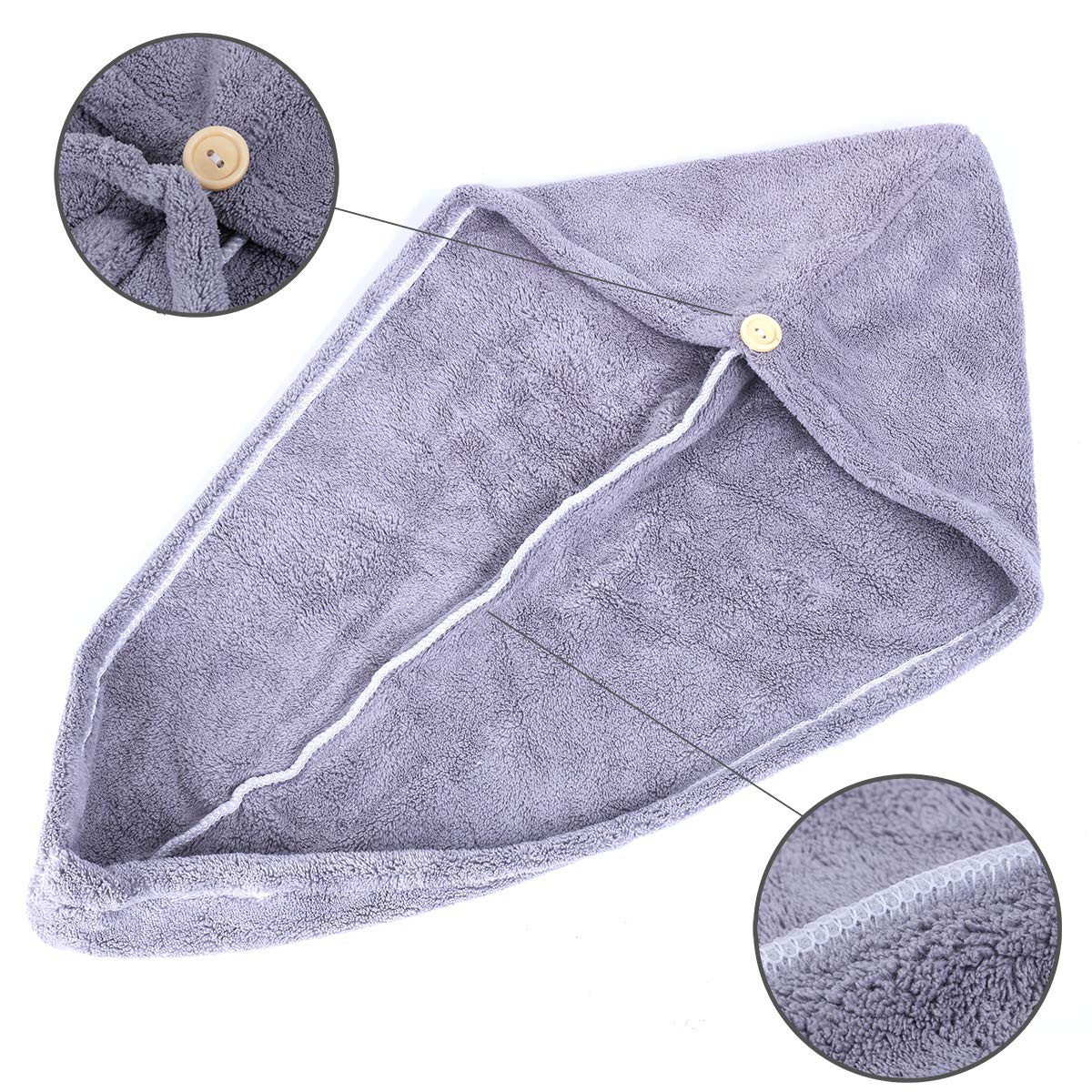 3 Pack 10 inch X 26 inch Bath Hair Cap ANDSTON Microfiber Hair Towel Wrap for Women Dry Hair Hat Super Absorbent Quick Dry Hair Turban For Drying Curly