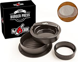 Non stick Hamburger Press Patty Maker with 30 Wax Paper Discs to Make Regular Burgers, Sliders, Stuffed Burgers and Perfect Patties - Handy Grilling, Barbecue and Kitchen Accessory. Dishwasher safe