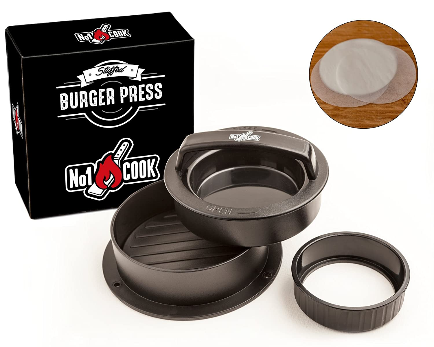 Stuffed Burger Press: Hamburger Patty Maker with 30 Wax Paper Discs to Make Great Sliders, Stuffed Burgers and Perfect BBQ Patties - Best Burger Press For cooking on the Barbecue, Stove or any Grill. No1Cook