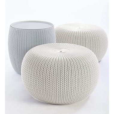 Keter 234242 Urban Knit Pouf Set, Cloudy Grey/Oasis White