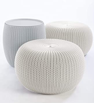 Brilliant Keter Urban Knit Pouf Ottoman Set Of 2 With Accent Table For Patio Decor Cloudy Grey Oasis White Machost Co Dining Chair Design Ideas Machostcouk