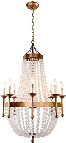 Gold Golden Frame Crystal Acrylic Beads Balls Pendant Chandelier Lamp 8 Lights H50 X W32 Large Fixture Rustic Iron