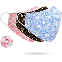 """3Pcs Water Repellent Face Masks 3D Design Fashion Fabric Face Covering Adjustable Nose Wire Size (10"""" x 5.5"""")"""