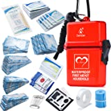 DEFTGET Waterproof First Aid Kit with Mini , Durable, Lightweight Construction, Bandages for Minor Injuries While Camping, Hi