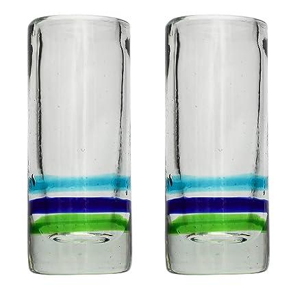 Vaso de Chupito/Tequila Artesanal – Vidrio Reciclado – 3 anillos – Juego de 2