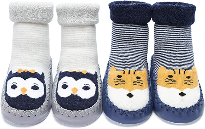 Adorel Baby Boys Anti-Slip Slippers Socks Thick Pack of 3