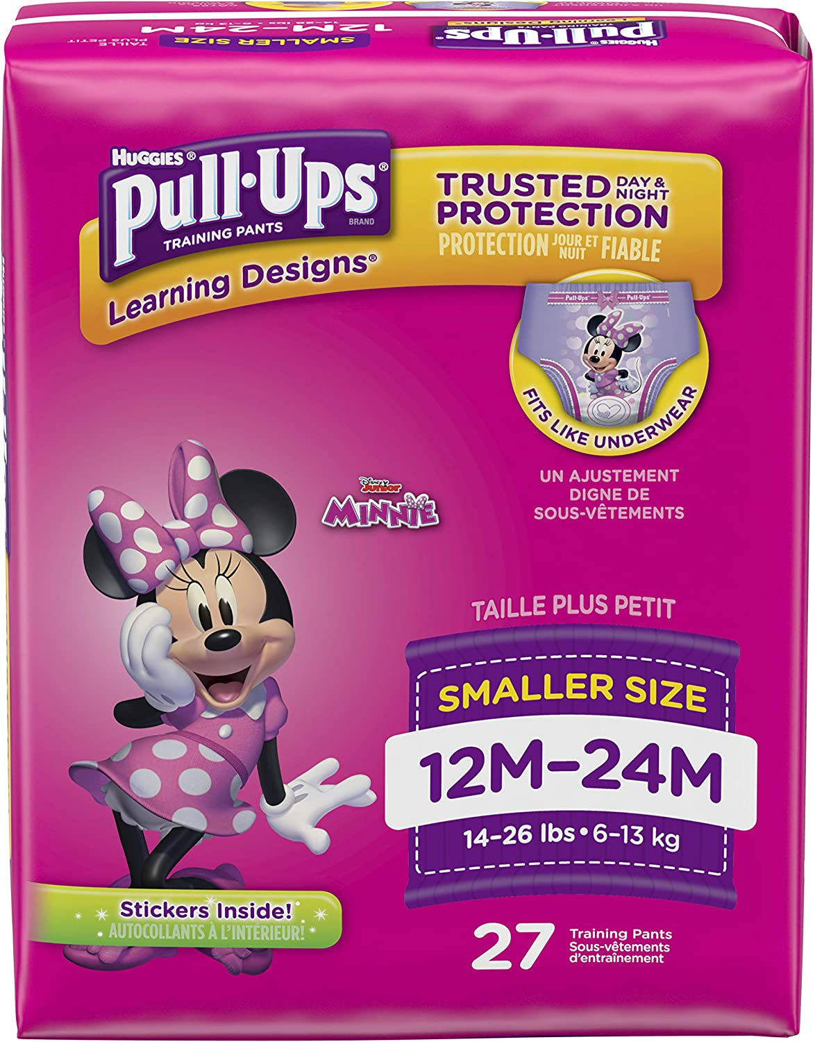 Pull-Ups Learning Designs for Girls Potty Training Pants, 12M-24M(14-26 lbs.), 27 Ct. (Packaging May Vary)