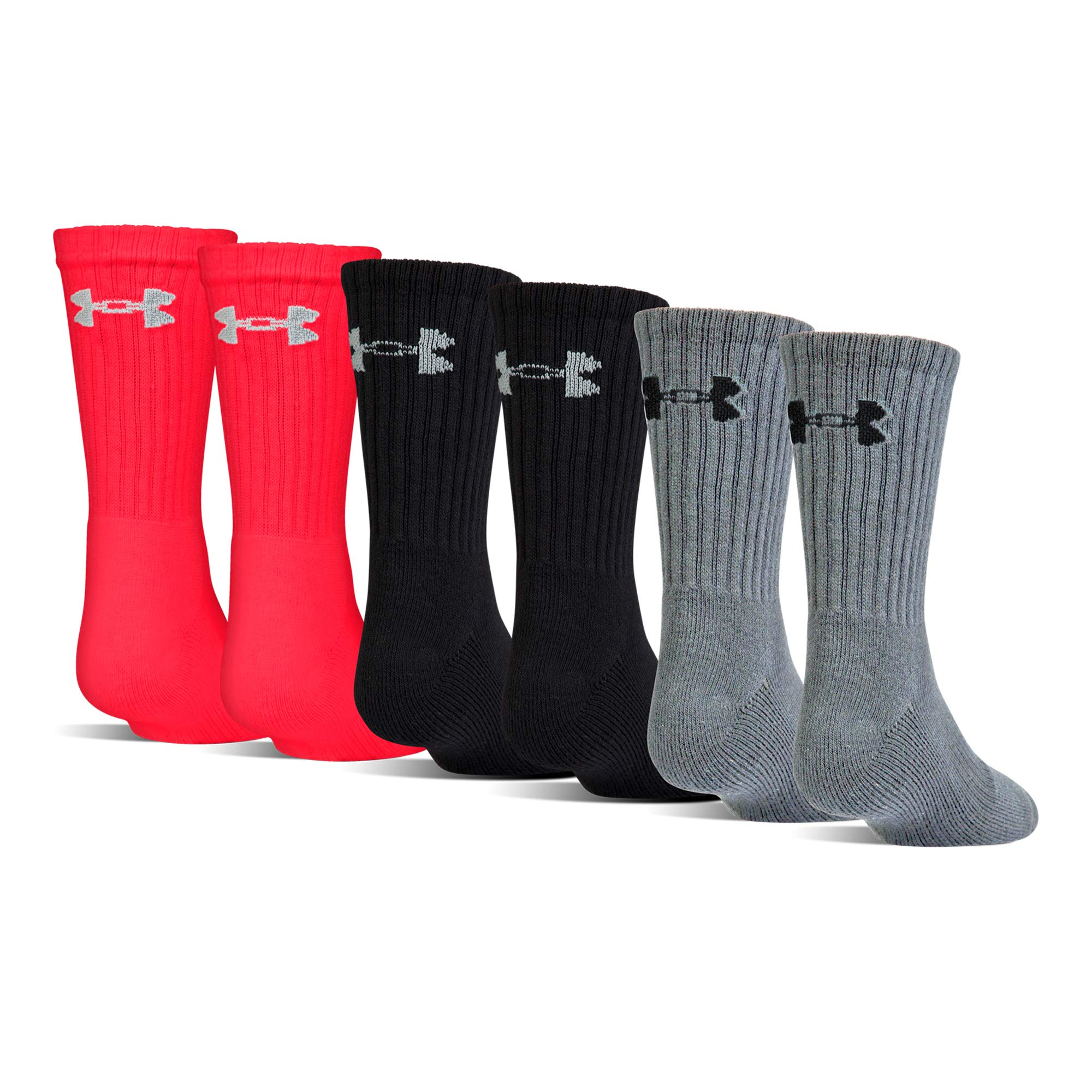 Under Armour Youth Charged Cotton 2.0 Crew Socks (6 Pack), Red/Assorted, Youth Large by Under Armour