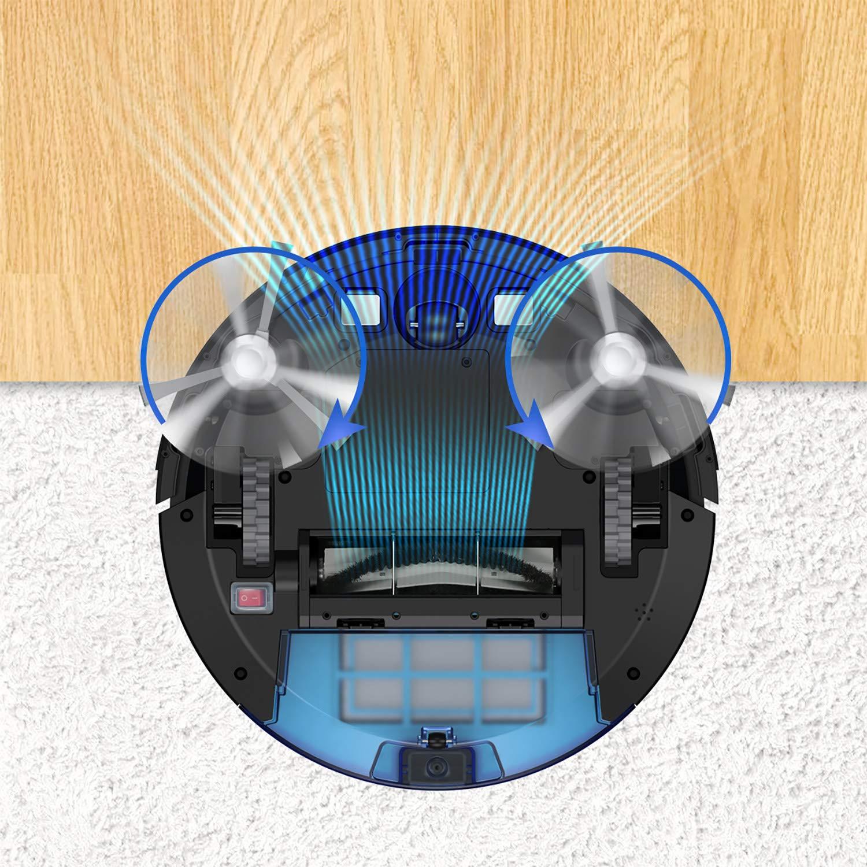 6 Reinigungsmodi Hosome Saugroboter 1500Pa Staubsauger Roboter 120Min Laufzeit Schlankes Design Automatische Aufladung Kollisionsschutz und Fallenlassen Infrarot-Fernbedienung