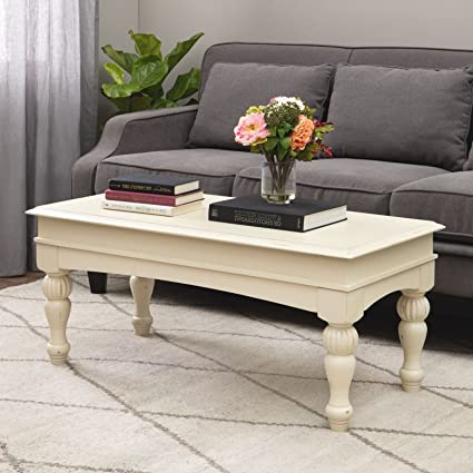 Amazoncom Farmhouse Coffee Table Provides Classic Style And - Rustic cream coffee table