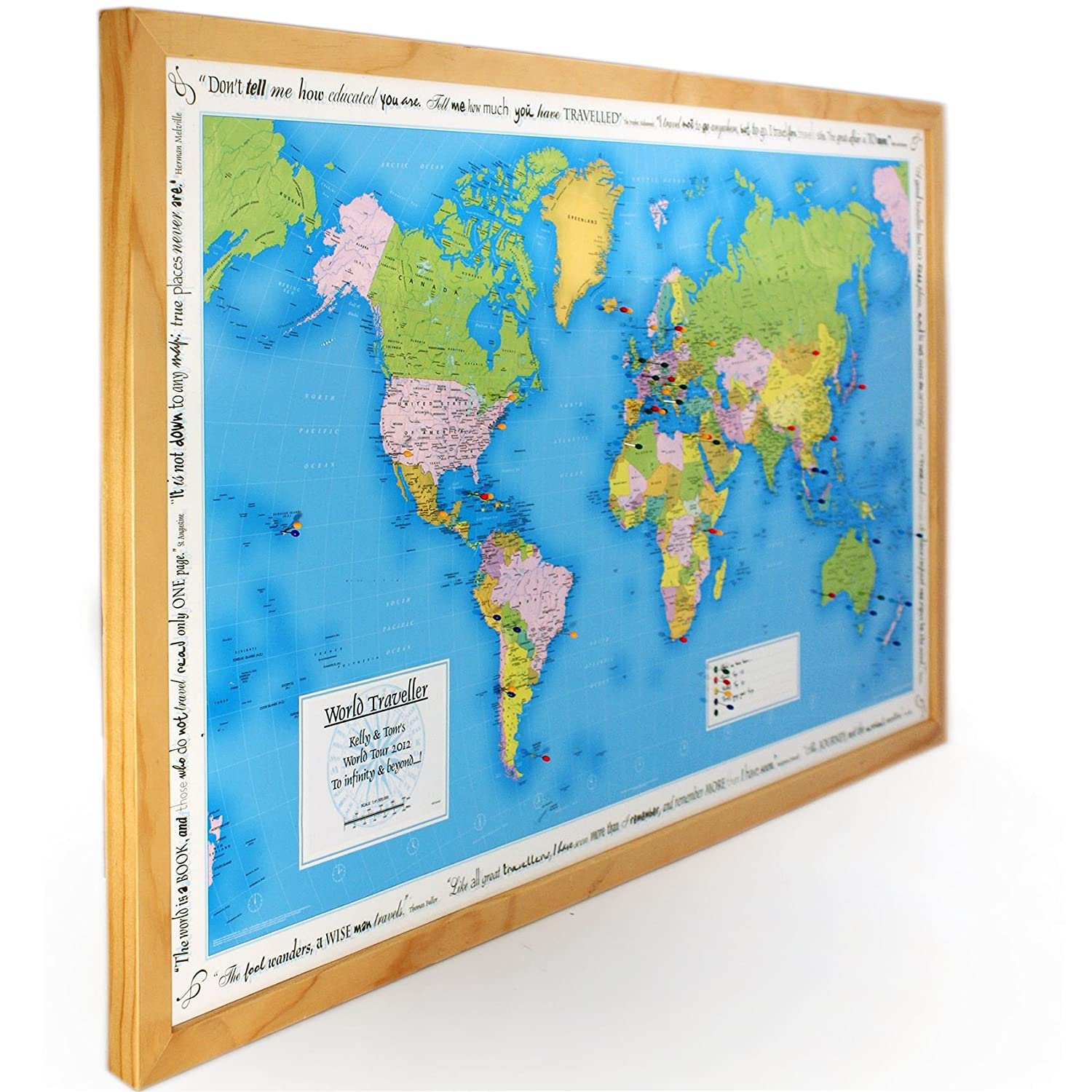 Personalised world traveller map in light wood amazon personalised world traveller map in light wood amazon kitchen home gumiabroncs Images