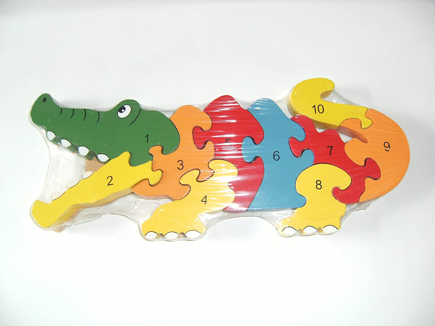 Ackerman Traditional Wood'n'Fun: Baby/Toodler Wooden Colourful Crocodile Jigsaw/Puzzle. D60700/G