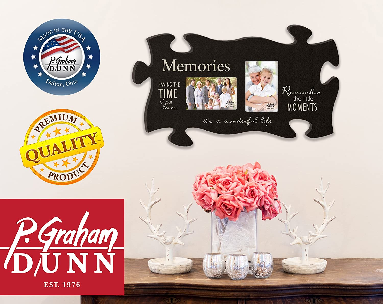 Graham Dunn Our Family Branches of a Tree Black 22 x 13 Wall Hanging Wood Puzzle Piece Photo Frame P
