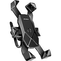 自転車ホルダー【2019最新版・1秒ロックアップ】 オートバイ バイク スマートフォン 振れ止め 脱落防止 GPSナビ 携帯 固定用 マウント スタンド iPhone X XS 8 7 6 6S Plus/HUWEI Mate P20 P10 lite/Xperia android 多機種対応 360度回転 脱着簡単