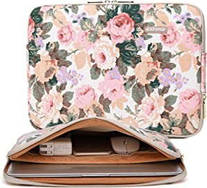 Kayond Canvas Water-Resistant 14 Inch Laptop Sleeve case for 14.1inch Notebook Compute (14-14.1 inch, White Camellia)