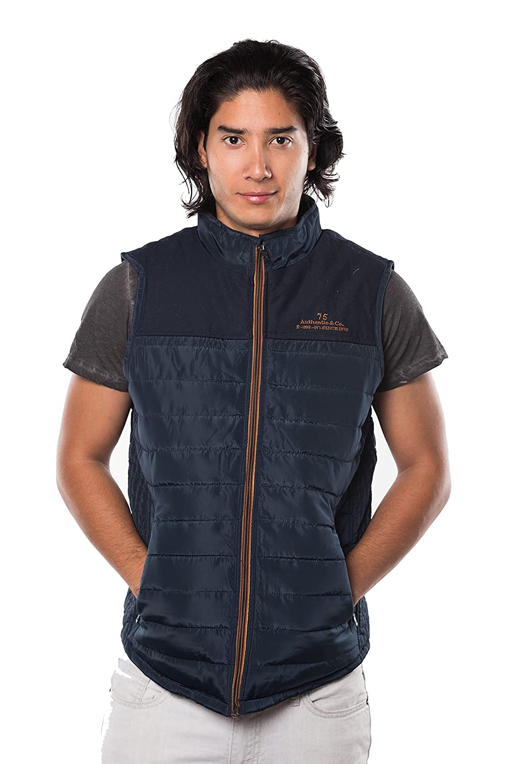 Men's Quilted Lined Zip Up Vest Flannel Plad Lining By Rock Revolution