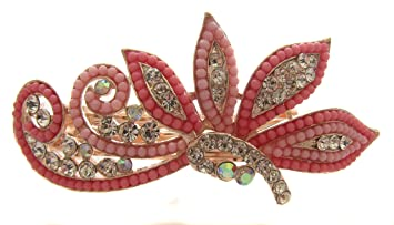 Pick A Gem Pink Beads And Diamante Hair Barrette Rose Gold