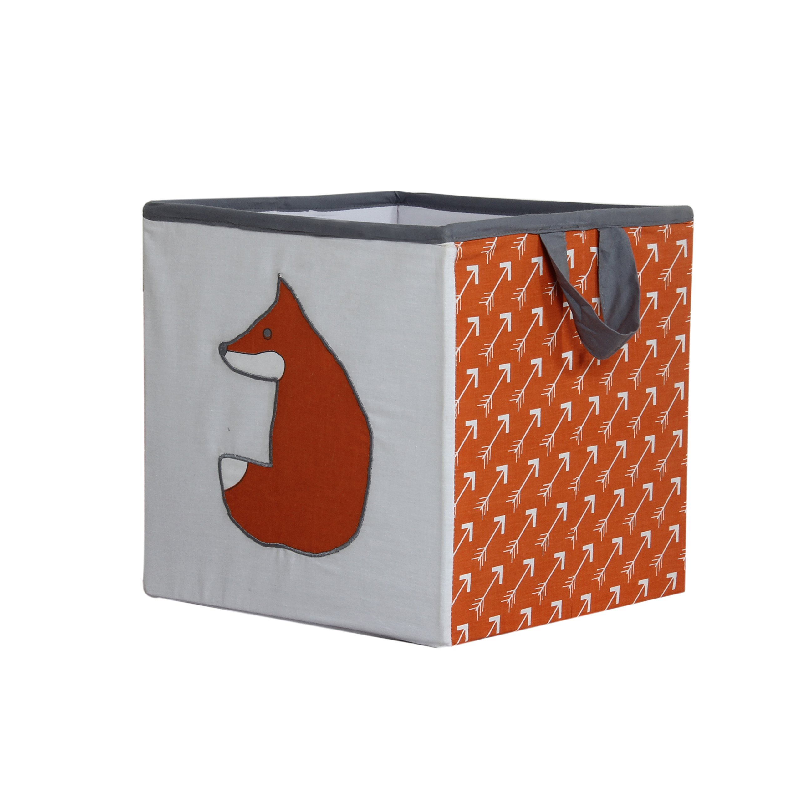 Bacati Playful Foxs Storage Box, Orange/Grey, Small