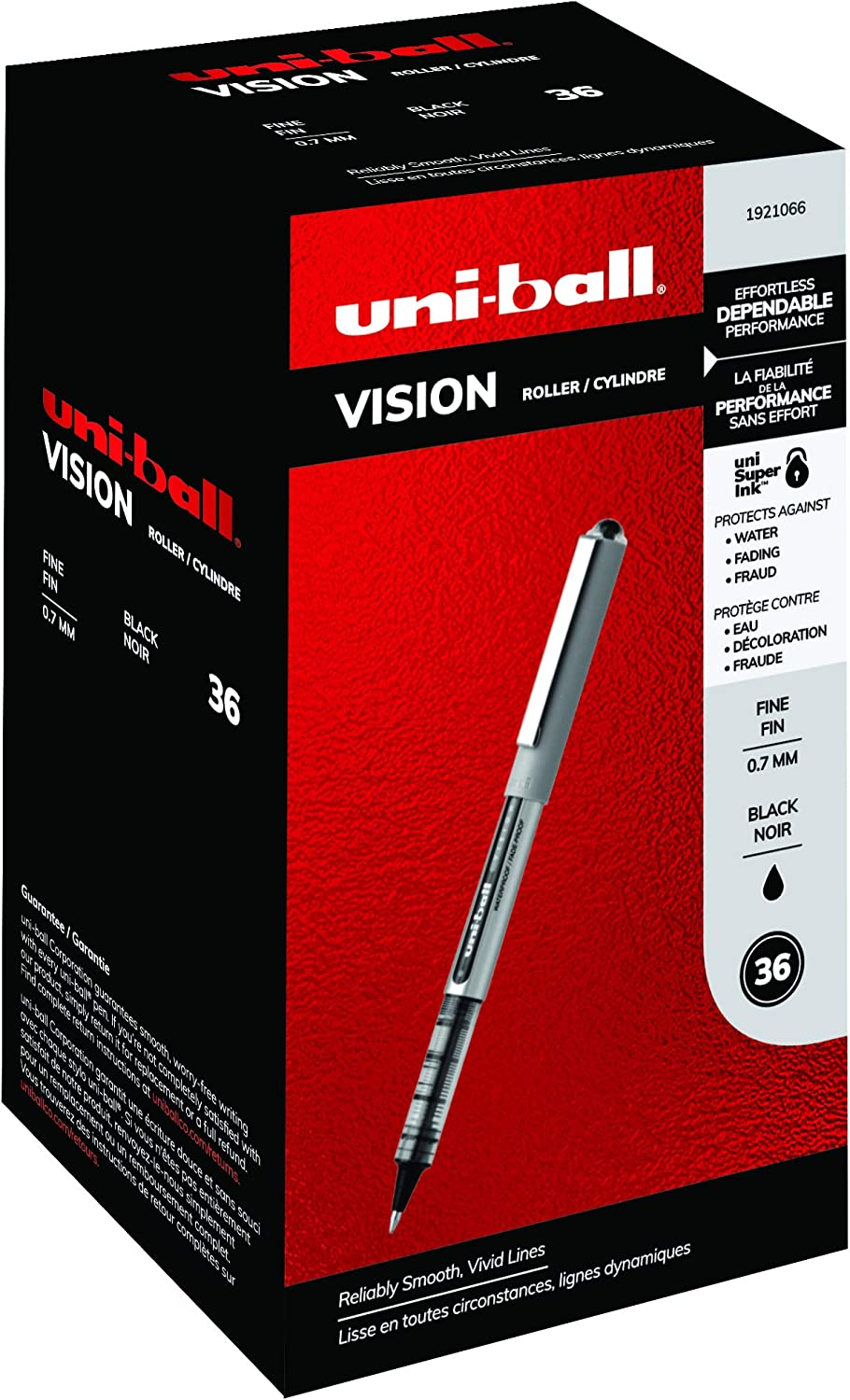 0.7mm 12 Count Uni-ball Vision Rollerball Pens 12-Count, Business Business Colors Fine Point