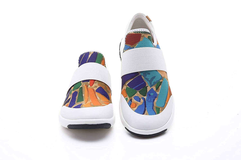 UIN Damen Farbe Glaze Atmungsaktiv Lycra Walking Schuhe Mehrfarbig -