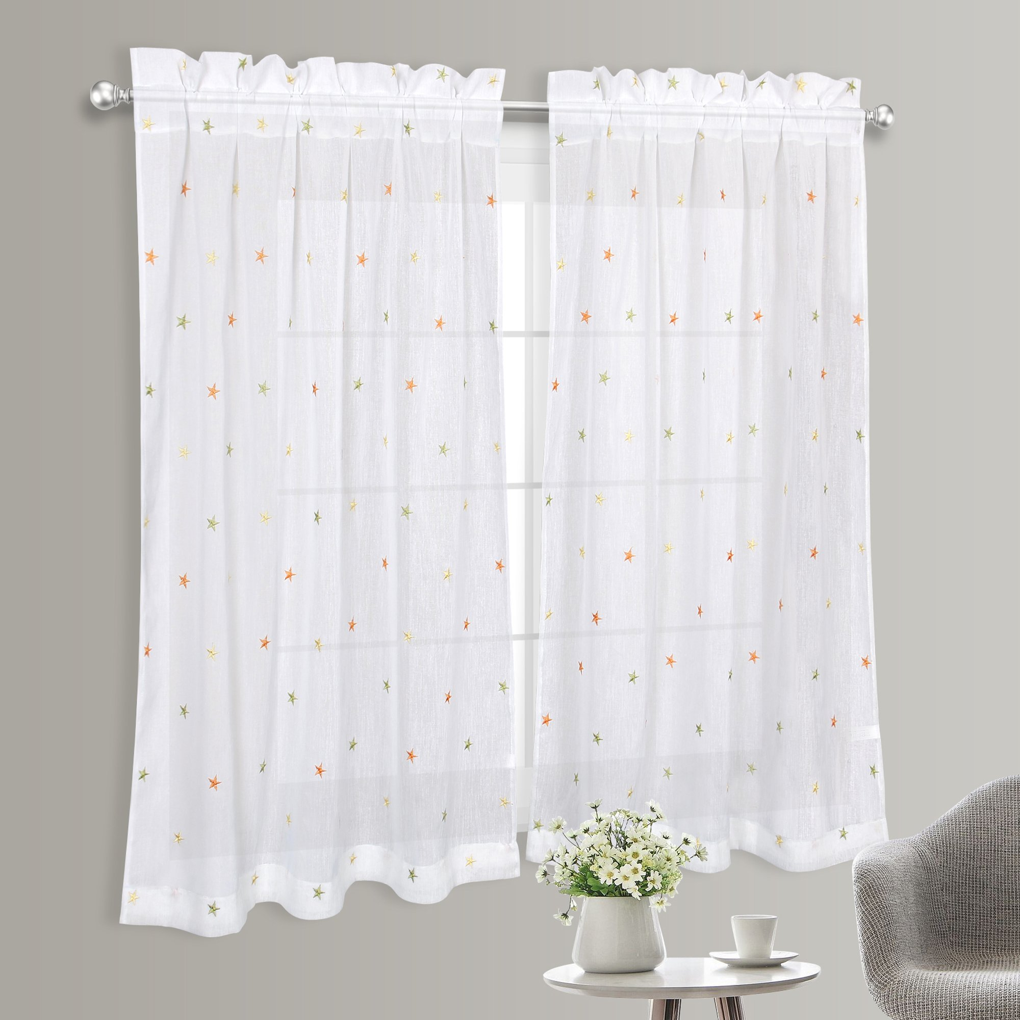 VOILYBIRD Rod Pocket Embroidered Stars Linen Textured Thick Sheer for Small Windows - Short Semi Sheer Curtains for Baby Room and Bathroom (W40 x L45, 2 Panels, Green/Yellow/Orange)