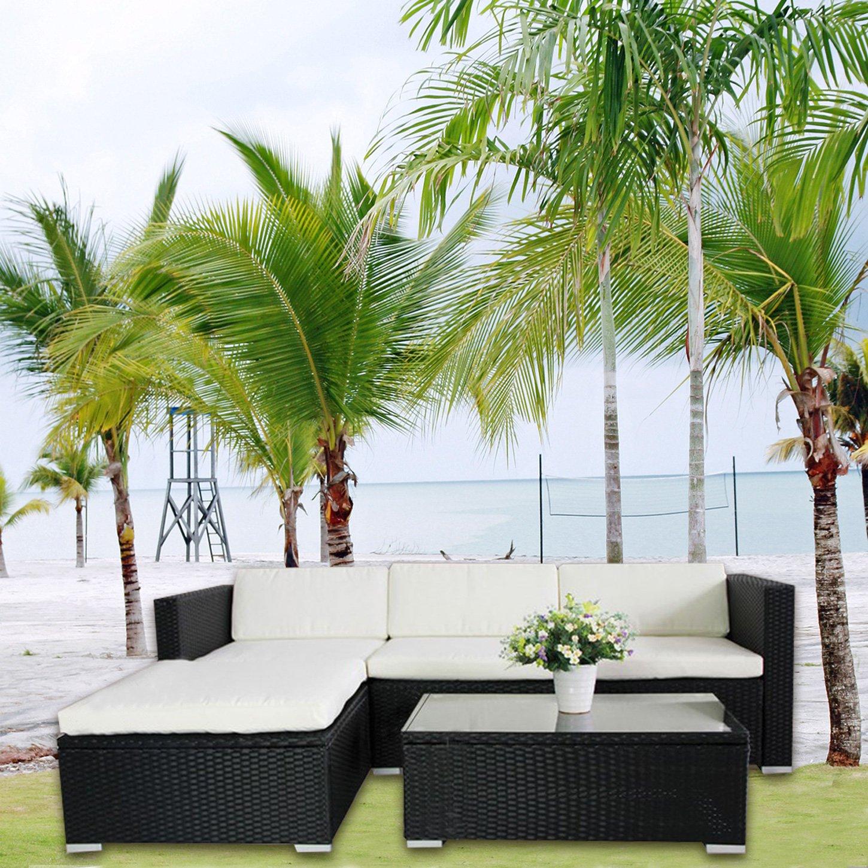 6034) POLY RATTAN Lounge Schwarz Gartenset Sofa Garnitur Polyrattan ...