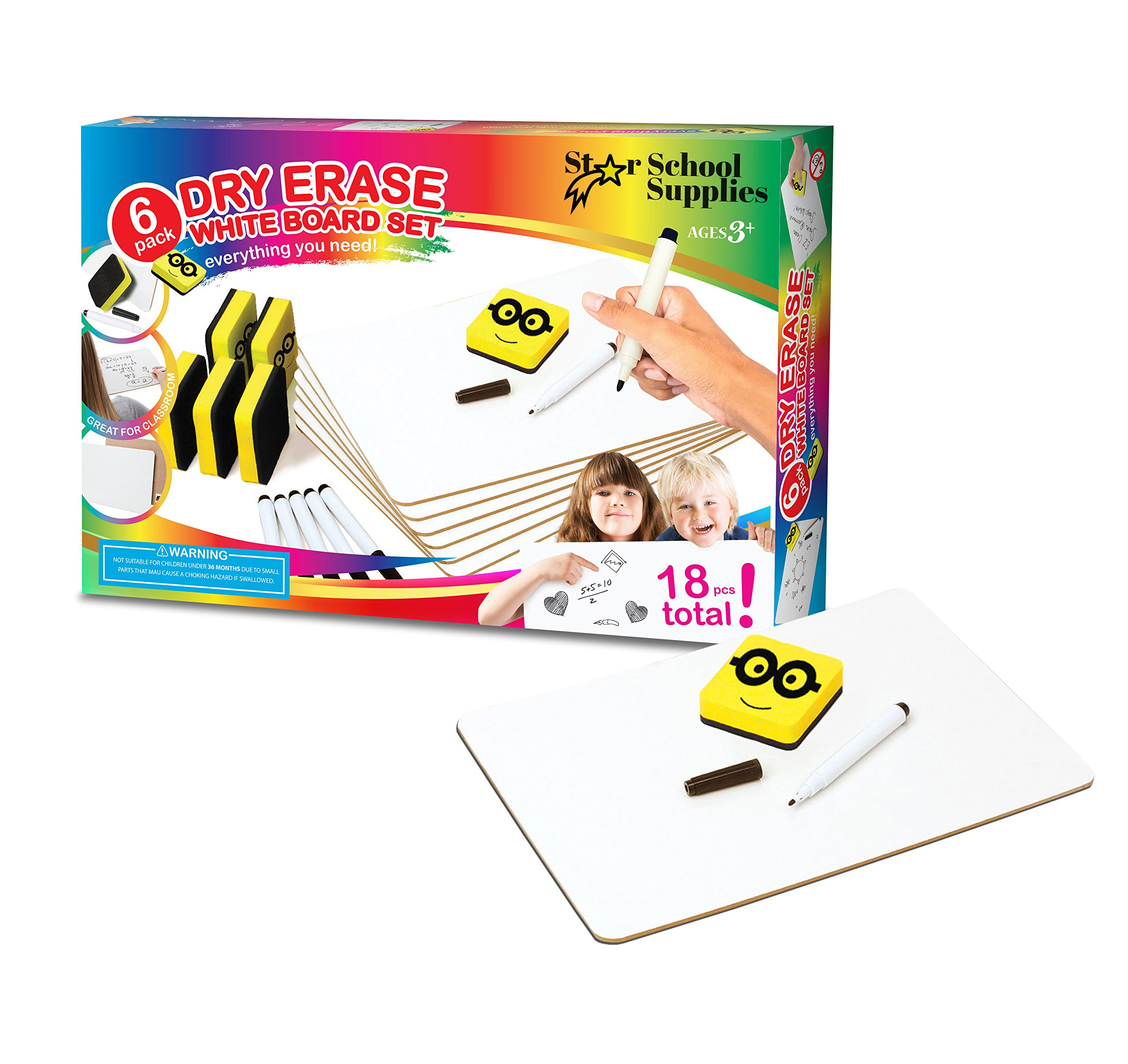 Dry Erase Boards | 6 Whiteboard Class Set | With Dry Erase Lapboard Markers , Erasers | Perfect board For Kids, Students, Teachers in The Classroom, Home or Office