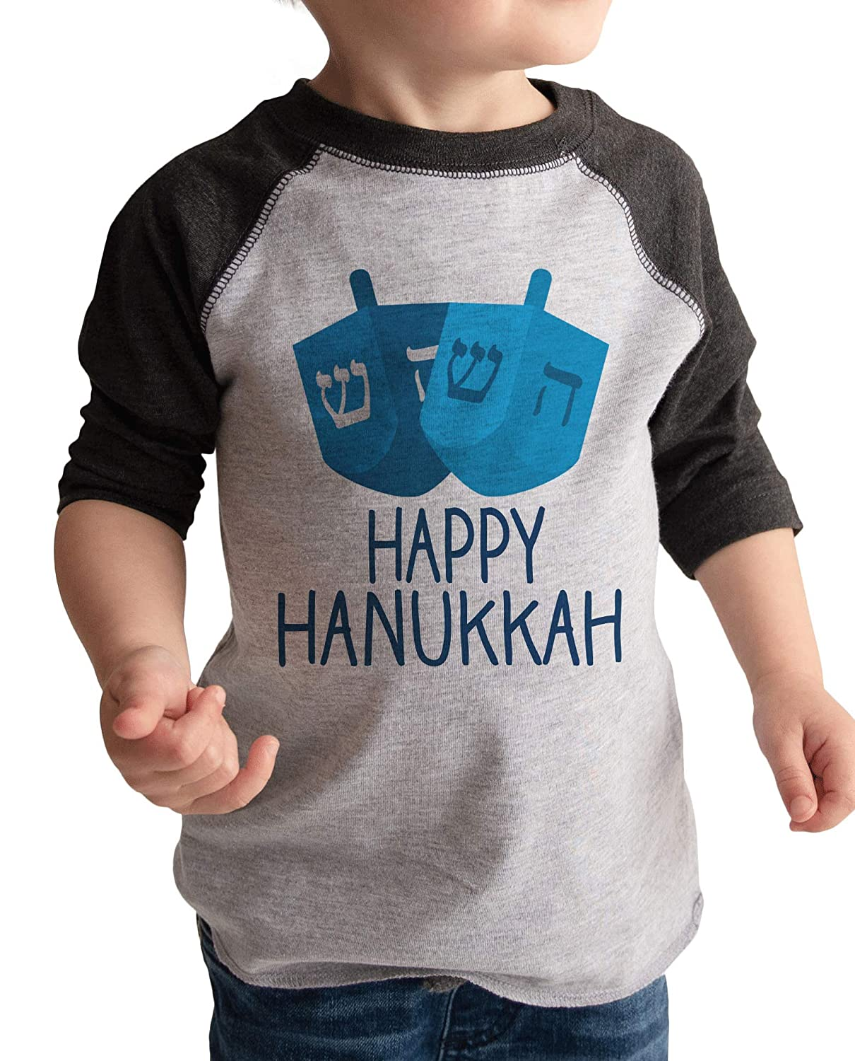 Custom Party Shop Babys My First Hanukkah Raglan Grey