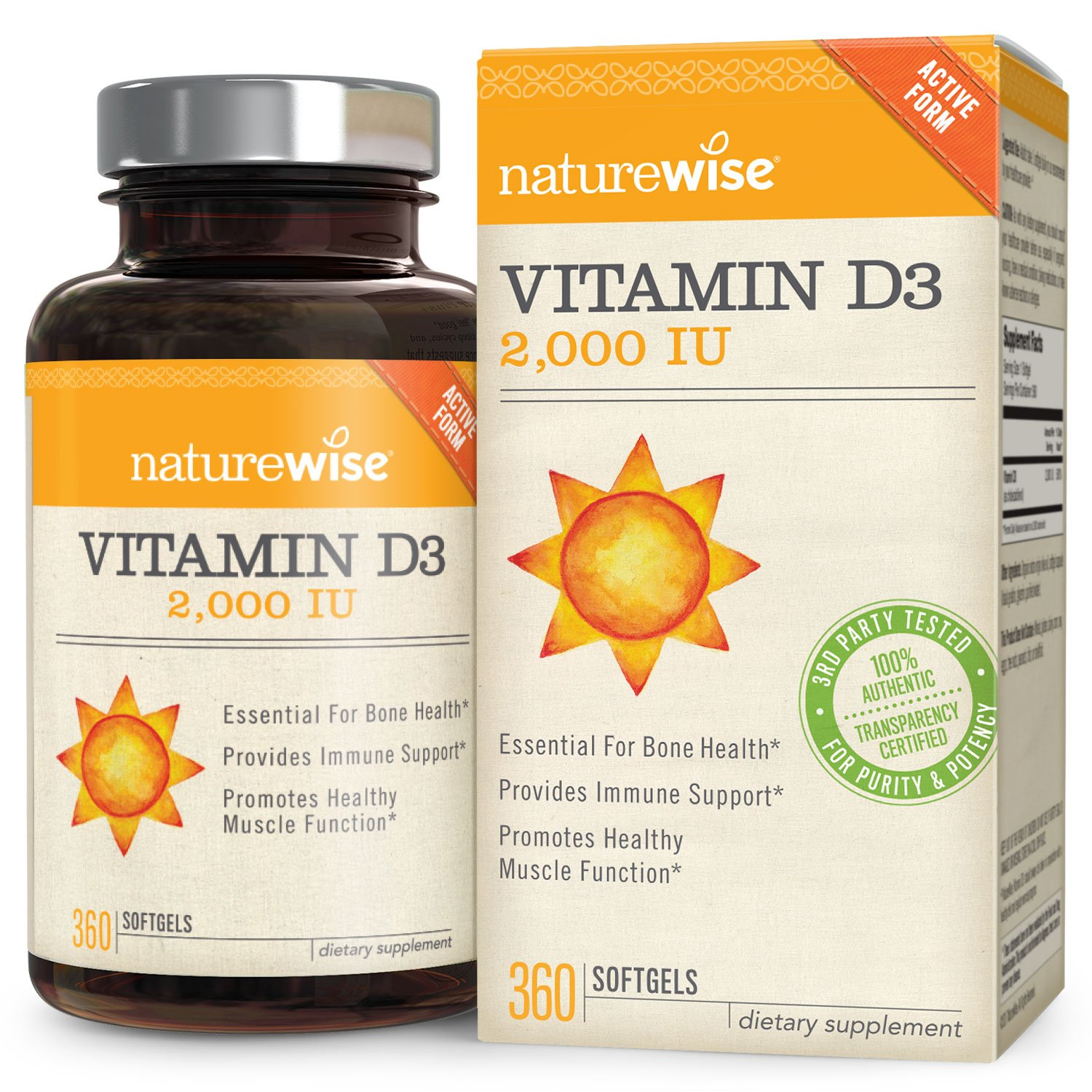 NatureWise Vitamin D3 2,000 IU for Healthy Muscle Function, Bone Health and Immune Support, Non-GMO, Gluten-Free in Cold-Pressed Organic Olive Oil,1-year supply, 360 count