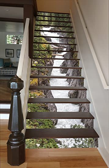 Maligne River RiserArt 46u0026quot; X 12 Painted Stairway Decoration Adhesive  Vinyl Stair Riser Panels Easy