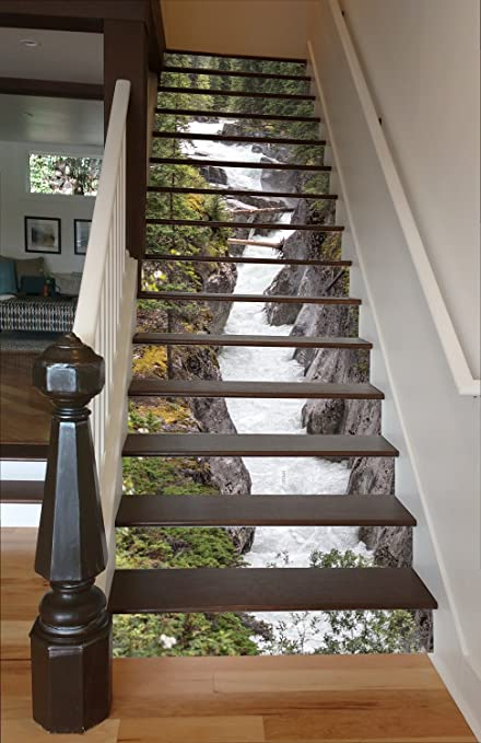 Maligne River RiserArt 37u0026quot; X 15 Painted Stairway Decoration Adhesive  Vinyl Stair Riser Panels Easy