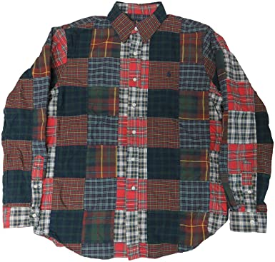 d19fc109 Polo Ralph Lauren Men's Relaxed Fit 100% Cotton Patchwork Madras Oxford  Shirt (Large)