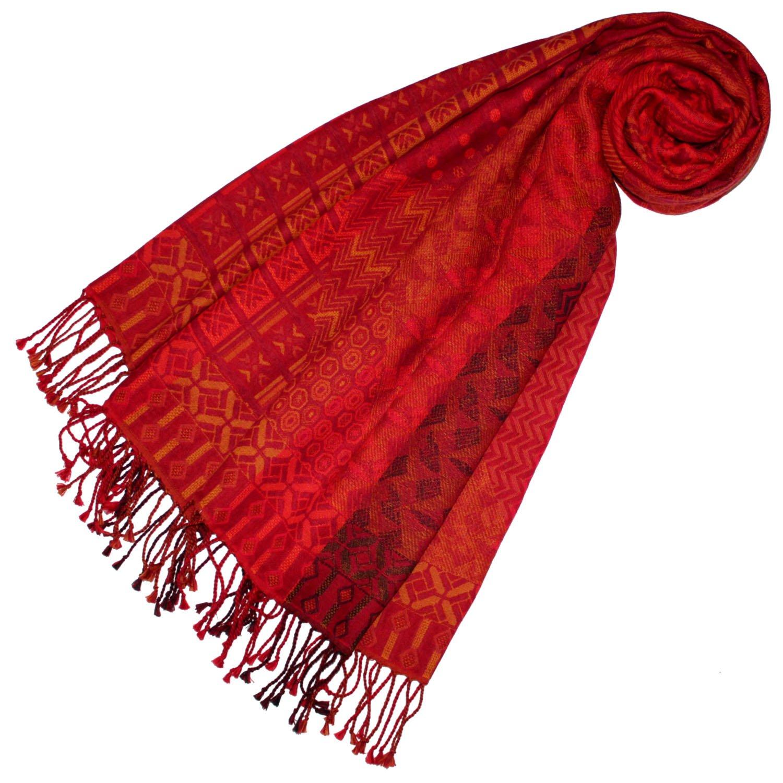 Lorenzo Cana Damen Pashmina Schaltuch aus 90% Baumwolle mit 10% Wolle Stola Damenschal Naturfaser Schal Markenschal Fransen gewebt 70 x 180 cm